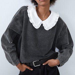 NEW Zara Acid Gray Peter Pan Collar Sweatshirt Top